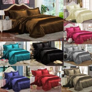 Juego de cama de seda satinada de 6 piezas con edredón edredón sábana ajustable 4 funda de almohada
