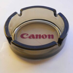 """CANNON – OFFICE PRODUCTS – ROUND 5"""" SMOKED GLASS ASHTRAY - USED"""