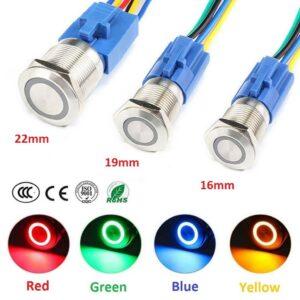 Interruptor momentáneo de botón pulsador de metal redondo S / S de 16/19/22 mm para electrodomésticos de automóvil