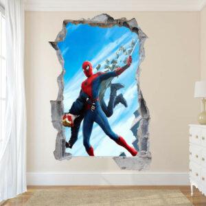 Ironman y Spiderman pegatinas de pared póster de arte 3d Mural calcomanía dormitorio de niños ST9