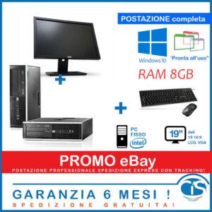 POSTAZIONE PC ORDENADOR FISSO DESKTOP POTENTE 8GB RAM 19 'DELL HP RICONDIZIONATO