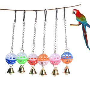 Pet Parrot Bird Cockatiel Bell Swing Ball Jaula colgante Juguete Suministros para mascotas UKP G2