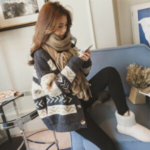 último otoño invierno tendencia de la moda coreana cardigan suelto abrigo de suéter de punto