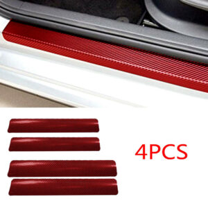 4x Accesorios de coche Calcomanía antirrayas para el umbral de la puerta trasera delantera de fibra de carbono 3D