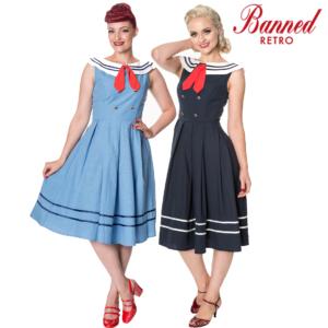 Banned Apparel Aquarius Vintage Sailor Nautical Retro 50s Vestido entallado y con vuelo