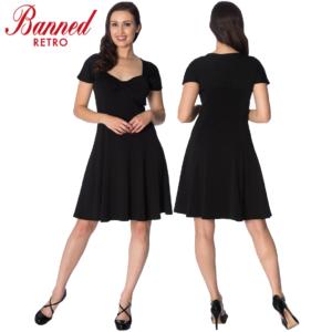 Banned Apparel It's The Twist Vestido negro con vuelo y elástico retro vintage