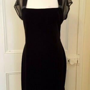 Connected Apparel Vestido de terciopelo negro Talla 14 Detalle de diamantes