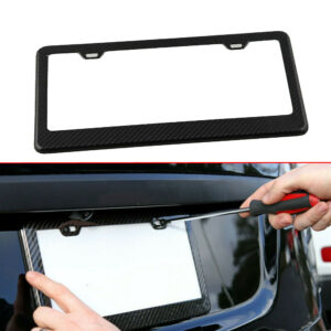 Cubierta de etiqueta de marco de placa de matrícula de fibra de carbono para automóvil con 2 tapas de rosca Accesorios para camiones