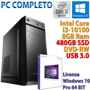 PC COMPUTADORA DE ESCRITORIO INTEL CORE i3-10100 RAM 8GB SSD 480GB DVD-RW WINDOWS 10 PRO