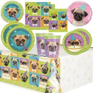 Suministros para fiestas de perros Pug Vajilla, globos, decoraciones, bolsas de fiesta