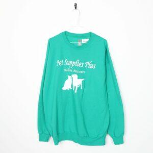 Vintage PET suministra suéter con estampado de logotipo grande verde |  SG