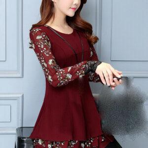 última primavera otoño temperamento de la moda coreana elegante vestido shitsuke
