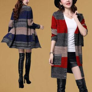 último otoño coreano moda temperamento cachemir tejido suéter abrigo