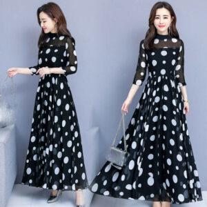 último verano de la moda coreana hermoso temperamento vestido de impresión de gasa