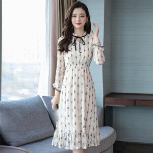 último verano moda coreana elegante temperamento manga larga vestido de seda Bud