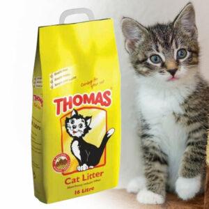 16L Arena para gatos Suministros naturales para mascotas Thomas Arena para gatos Higiene Limpieza Mineral