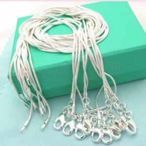 Collar de cadena de serpiente de plata maciza de joyería caliente al por mayor de 10 piezas para regalo colgante