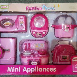 Fun Fun Home Mini Electrodomésticos Juguetes de cocina para niños Tostadora de microondas rosa de 6 piezas