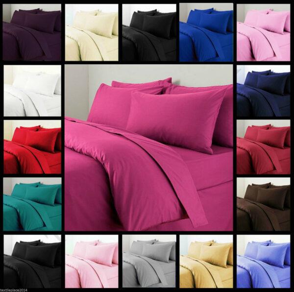 Funda de edredón de edredón liso con funda de almohada Juego de cama Individual Doble King Todos los tamaños