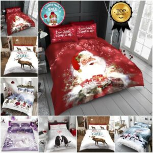 Funda nórdica navideña con fundas de almohada Juego de cama Santa Deer Individual Doble King