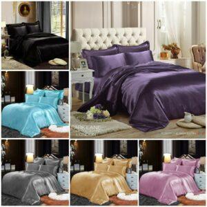 Juego de cama de seda satinada de 6 piezas con funda nórdica funda de edredón sábana ajustable 4 funda de almohada