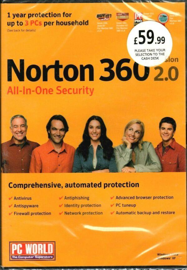 NORTON 360 All-In One SECURITY 2.0 (1 año de protección para 3 PC) ¡NUEVO / Sellado!