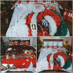 Navidad Navidad Funda nórdica Santa Reino Unido Juego de cama Fundas de almohada Todos los tamaños Nueva gama