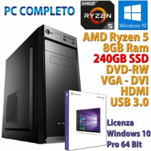 PC ORDENADOR DE ESCRITORIO WINDOWS 10 ASSEMBLATO AMD RYZEN 5 3400G RAM 8GB SSD 240GB