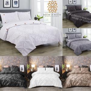 Pintuck Funda nórdica plisada con funda de almohada Juego de cama Individual Doble King Size