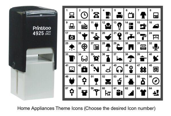 Printtoo Personalizó los iconos del tema de los electrodomésticos Sello de goma Self-ODz