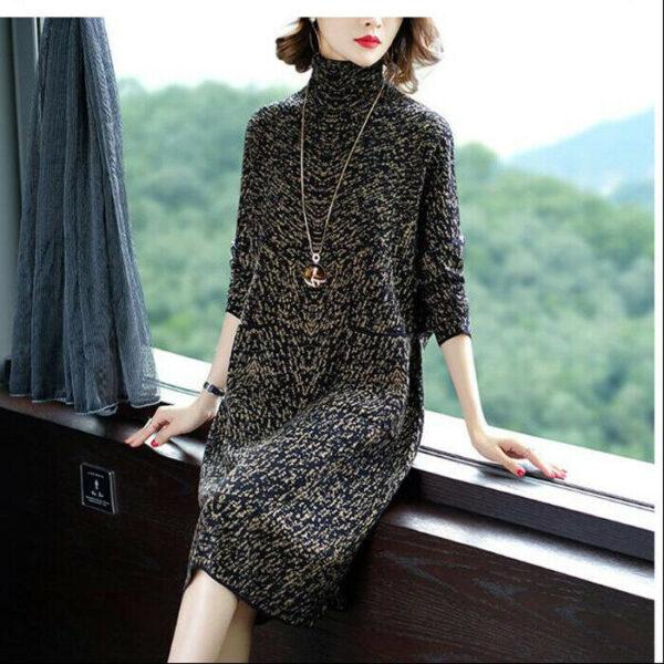 último otoño invierno moda coreana elegante vestido de suéter de punto de cuello alto