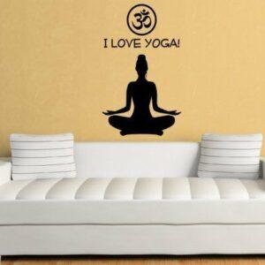 ¡Amo el yoga!  Adhesivo de pared para gimnasio, clase de yoga, Yoga Sadhaka, Yogi, escuela