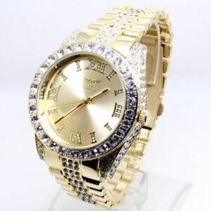 020P Relojes de pulsera de moda de lujo para hombres Banda dorada Diamante de imitación de cristal Esfera romana
