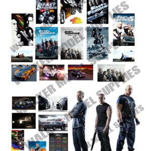 1:18 escala precortada Fast And Furious Garage poster pegatinas modelo de coche.  10