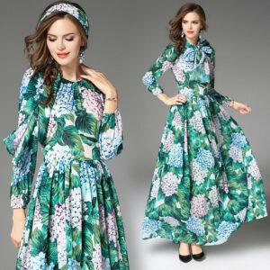 2018 primavera mujer moda temperamento estampado de cintura alta vestido maxi swing nuevo