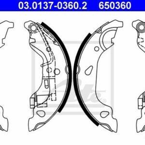 ATE Bremsbackensatz 03.0137-0360.2 für FIAT PUNTO hinten Furgón 16V 188233235253