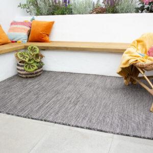 Alfombra de exterior lavable de grafito |  Alfombra de jardín de plástico resistente al desgaste |  Corredores grises