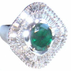Anillo de diamantes y esmeraldas de 2,46 ct en oro blanco de 14 k