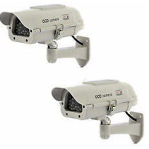 Cámaras de seguridad simuladas x 2 - Energía solar - Disuasor de seguridad CCTV eficaz