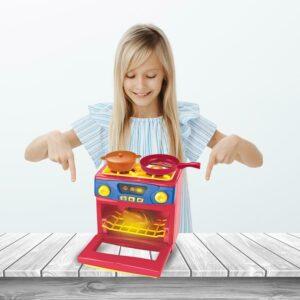 Cocina, comida, cocina, horno a gas, electrodomésticos, juguete, juego de simulación, conjunto con olla y sartén