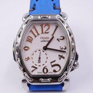 Fendi Selleria Tonneau Reloj de cuarzo suizo para mujer Correa de cuero azul Batería nueva
