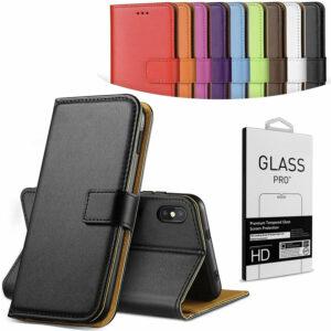Funda delgada con billetera abatible de cuero genuino para todos los modelos de teléfono + vidrio HD