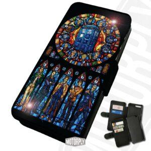 Funda para teléfono con tapa de piel sintética impresa para Samsung - Dr Who Stained Glass - Regalo