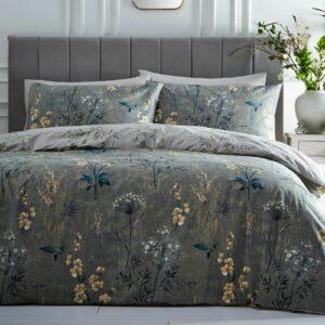 Juego de ropa de cama Florette Funda nórdica doble musgo Meadow Wild Flower 2 en 1 Diseño
