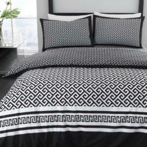 Meander - Juego de funda nórdica en blanco y negro, 3 piezas, juego de edredón, juego de cama, fundas de almohada