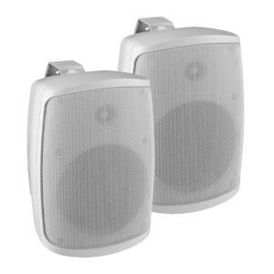 Monacor WALL-04T Par 100V Sistema de sonido de altavoces blancos Resistente a la intemperie IP65