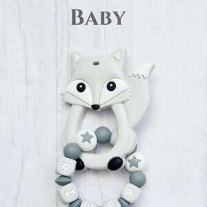 Mordedor de silicona personalizado sin BPA.  Baby Babies Anillo de dentición Chupete Zorro gris