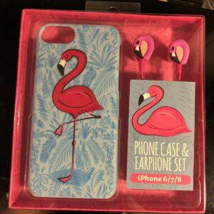 * NUEVO * Juego de auriculares y estuche para teléfono Flamingo para iPhone 6/7 y 8