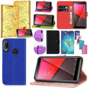 Nuevo Vodafone Smart N8 Funda de cuero de lujo para teléfono con billetera y libro