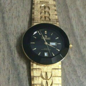 Reloj de vestir dorado para hombre SUNBORN Dial negro redondo con día y fecha ¡Nuevo en caja!